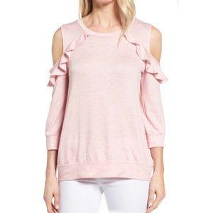 Bobeau 💕Pink💕 Cold Shoulder Sweatshirt